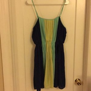 Pleated lime, teal and navy sundress Large
